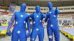 New Zealand  fans on Rugby World Cup Sevens 2013 Stock Footage
