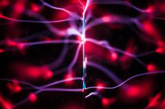 science abstract: plasma gas beams and traces pattern - stock photo