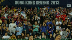 Stock Video Footage of Fans on the HongKong stadium.