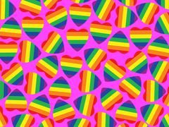A lot hearts with gay pride flag inside on pink.background. Stock Illustration