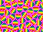 Stock Illustration of a lot hearts with gay pride flag inside on pink.background.