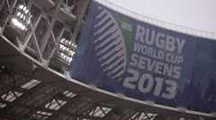 Emblem of the Rugby World Cup Sevens 2013 Stock Footage