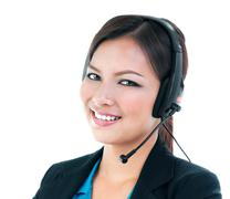 Businesswoman with headset - stock photo