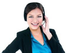 Pretty businesswoman with headset Stock Photos