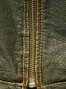 Zipper on a black leather. Stock Photos