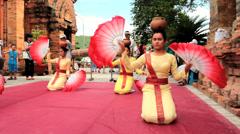 Local folk dance show at Po Nagar towers Stock Footage