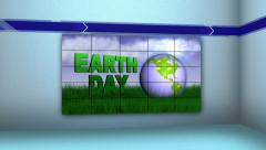 Earth Day in Monitor and Room, with Final White Transition Stock Footage