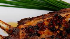 Stock Video Footage of served roast ribs