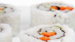 California Maki Roll with Salmon Stock Footage
