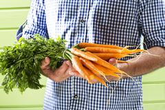 Mature man holding bunch of carrots against green background, close up Stock Photos
