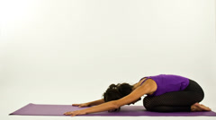 Yoga teacher poses on a white background Stock Footage