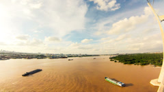 Time lapse footage of river traffic on Dong Nai River in Saigon Stock Footage