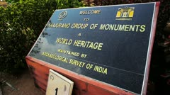Locked-on shot of a sign at Khajuraho Group Of Monuments - stock footage