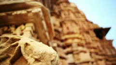 Rack focus shot of architectural details of a temple Stock Footage