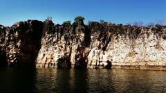 Pan shot of cliffs along the river Stock Footage