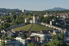 Switzerland, schaffhausen, munot fortress and historic town Stock Photos