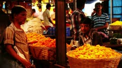 Locked-on shot of a flower market Stock Footage
