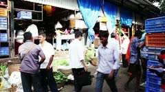 Pan shot of a vegetable market Stock Footage