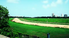 Pan shot of a racecourse Stock Footage