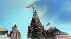 Locked-on shot of Dwarkadhish Temple Stock Footage