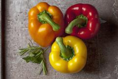 Capsicum with leaves, close up Stock Photos