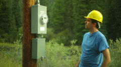 Electric company power line construction orders Stock Footage