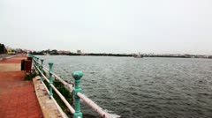 Pan shot of Hussain Sagar Lake Stock Footage