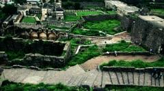 Pan shot of Golkonda Fort Stock Footage