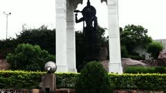 Tilt up shot of the statue of Lord Venkateshwara in Birla Mandir Stock Footage