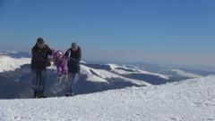 Family, Child Walking in Snow in Trip in Mountains, Tourists, People in Winter Stock Footage