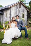 Usa, texas, portrait of bride and groom, smiling Stock Photos
