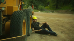 road construction on break taking break - stock footage