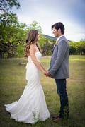 Usa, texas, bride and groom at wedding ceremony Stock Photos