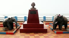 Locked-on shot of Indira Gandhi memorial at Ramakrishna Beach Stock Footage
