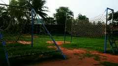 Pan shot of playground equipments at Vuda Park Stock Footage