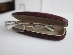 glasses in a spectacle case - stock photo