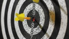 Bull's eye darts throw Stock Footage
