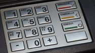 Stock Video Footage of PIN, Cash machine, ATM, metallic keyboard, italian bank.
