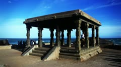 Shot of a pavilion on the Coast Stock Footage
