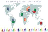 World Map of Fruits Drink and Sweet Beverage Stock Illustration