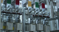 High-voltage substation. power outage. power switch Stock Footage