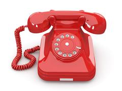 Stock Illustration of old-fashioned phone on white isolated background. 3d