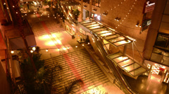 4K Hollywood Timelapse 07 Tilt Down Night Cityscape Crowd Stock Footage