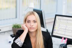 bored serious businesswoman - stock photo