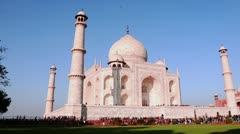 Pan shot of tourists at the Taj Mahal Stock Footage