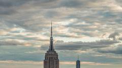 New York City Landmarks Manhattan NYC Empire State Building Freedom Tower Stock Footage
