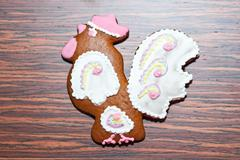 Gingerbread in the form of a cock Stock Photos