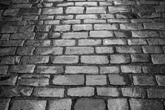 Street paved with cobblestone - stock photo