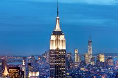 Manhattan buildings, New York City, USA - stock photo
