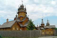 man's monastery. monastic village completely constructed of a tree. - stock photo